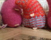 Orange dots plush hamster made from recycled jumper sweater