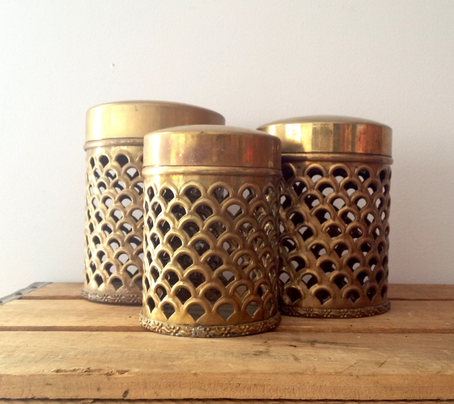 Brass containers fish scale cut out design ornate solid for Fish scale coke cut