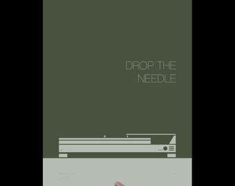 Drop the Needle, Art Print, Screenprint, Print, Typography, Office Art, Living Room Art, Music Poster, Music Room, Mid Century Modern Art