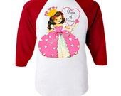 "Queen of Hearts Shirt - Valentine Girl Shirt - ""Queen of Hearts"" Red White Baseball - Girl Valentine Toddler - Infant Retro Personalized"