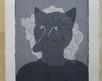 Grey Fox Vision - 2 colour screen print