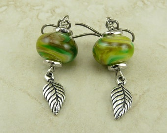 Leafy Green Lampwork Bead Earrings > Mother Earth Day Green Brown Leaves - Hypoallergenic Niobium Ear Wires