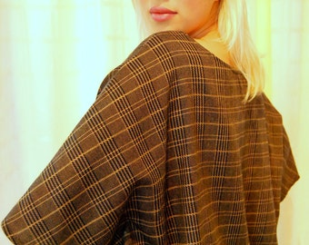 Cape Blouse with Vintage Doily Collar-one-size up-cycled, rework, handmade, one of a kind, eco friendly, vintage, plaid , tartan, earth tone