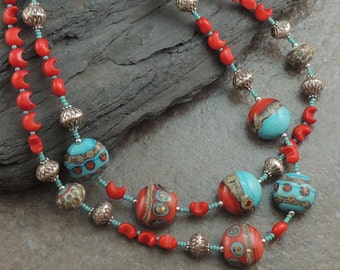 Artisan Lampwork Coral Hill Tribe Silver Necklace