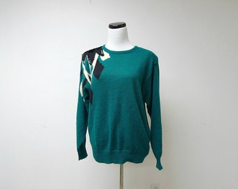 WILLOW BAY . 1980 vintage green beaded sweater . large