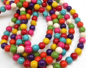 70 Mixed Color Howlite Beads 6MM (H7006)