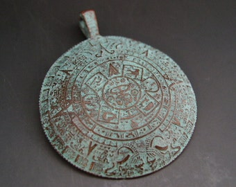 Mayan Calendar Pendant 45mm Mykonos Greek Copper Antiqued Green Turquoise Naos
