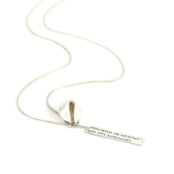 never settle for anything less than butterflies - fortune cookie lariat with fortune message in front