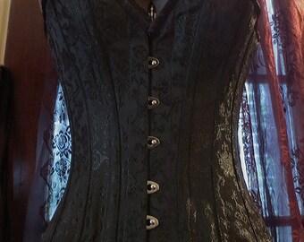 Black Brocade Deep V Overbust Corset Size 20 Gothic