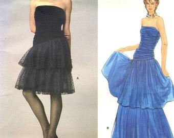 Vogue 1623 STRAPLESS TIERED GOWN 1985 Kasper, American Designer Uncut Sewing Pattern