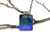 Fused Glass Pendant Fused Glass Jewelry Deep Aqua Cobalt Blue Dichroic Pendant