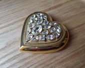 Yves Saint Laurent by Goossens Heart-Shaped Rhinestone Powder Compact