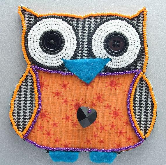 Little beaded owl houndstooth bead embroidery orange