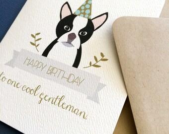 One Cool Gentleman, Boston Terrier birthday greeting card