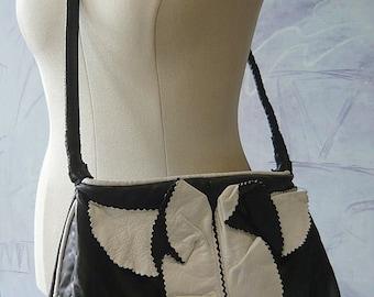 Vintage Large Leather Hobo Purse Cross Body Shoulder Bag Black White LEAF 90s NYC Marcel Designs
