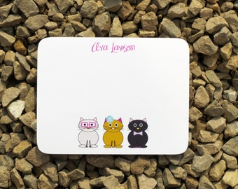 Cat personalized stationery - Gift Giving - Personalized Stationery - Notepads and notecards