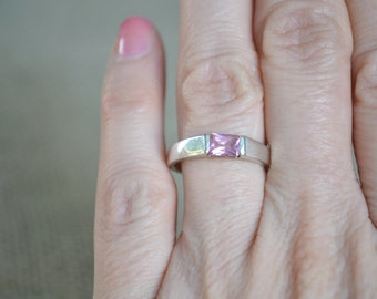 Sterling Silver Ring, CZ Ring, Cubic Zirconia Ring, 1970s Ring, Silver Ring, Pink Crystal Ring, Size 6.5 Ring, Pink CZ Ring, Vintage Ring