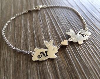 Two Bunnies Heart Jewelry Bracelet - Personalized Jewelry - Brass / Silver Plated Bracelet