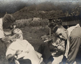 vintage photo 1917 Young Man Gets a Shave w Help from Friends outdoors