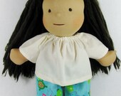 Waldorf pajama pants, turquoise flannel fish and turtle pants, pajamas for 14 to 15 inch dolls, doll clothing, waldorf doll clothes