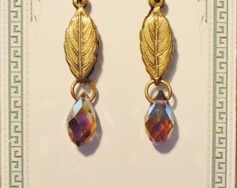 brass leaf amethyst glass briolette dangle earrings