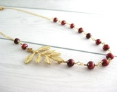 Red Pearl Necklace - sideways gold leaf, beadwork, dark red burgundy asymmetrical, fall necklace, wedding bridesmaid - Merlot Pearl