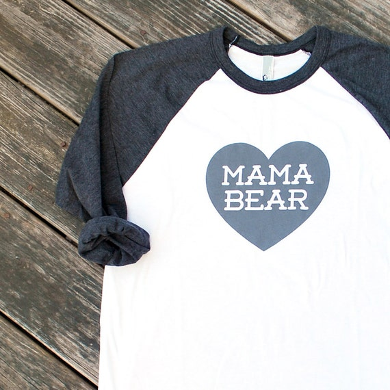Mama Bear with Heart Heather Black Raglan Sleeve Baseball TShirt with Grey Print - Family Photos, Gift for Her, Gift for Mom