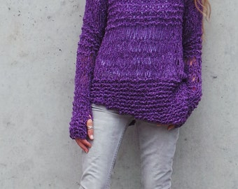 Purple sweater Womens Purple sweater asymmetrical grunge sweater handmade, women's sweater, pullover