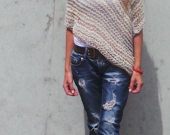 beige Poncho caramel poncho hand knit womens poncho