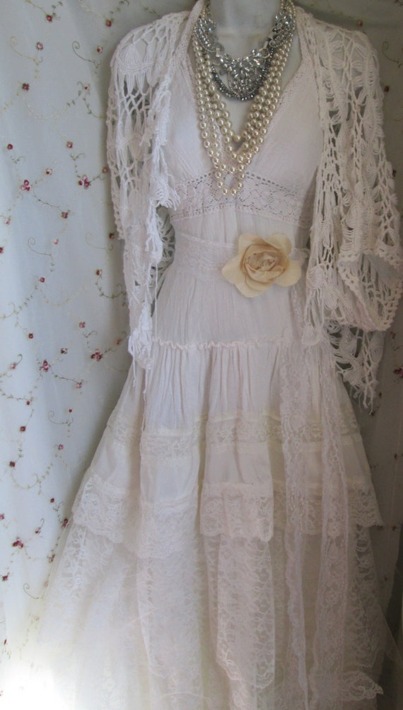 Boho Lace Wedding Dress Etsy : Ivory boho wedding dress tiered lace vintage cotton tulle bride