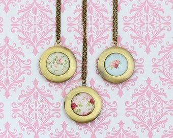 Shabby Chic Locket Necklace, Brass Locket, Picture Locket, Flower Locket, Romantic Gift For Woman, Memories, Girlfriend Gift, Gift For Woman
