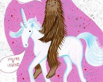 Bigfoot and Unicorn card