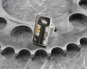FEATURED in ACF MAGAZINE Steampunk Skeleton Key Rectangular Ring - The Key to Your Universe by COGnitive Creations