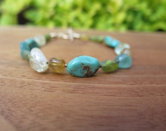 Stone Bracelet - Turquoise Citrine Peridot - Gold Filled - Luxe - Earthy Natural Girl - Summer Boho Crystal Jewelry - Women's Bohemian Style