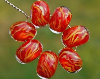 Warming Trend - Set of 7 Encased Lampwork Beads - Dan O Beads
