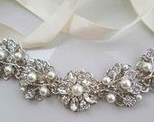Sale Wedding headband Bridal Hair Silver wedding hair Vine crystal bridal hair pearl headband ribbon ivory pearl headpiece crystal Bridal