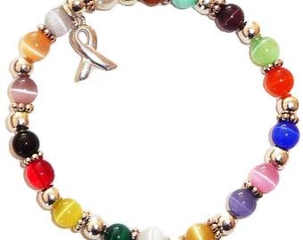 Stretchy 18 Colors Packaged Cancer Awareness Bracelet- 6mm