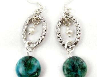 Green and Blue Earrings, Chrysocolla Pearl Gemstone Dangle Earrings