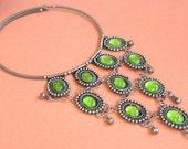 Vintage Bib Necklace, Green Bib Necklace, Olive Green Jewelry, Ethnic Necklace, Choker Necklace