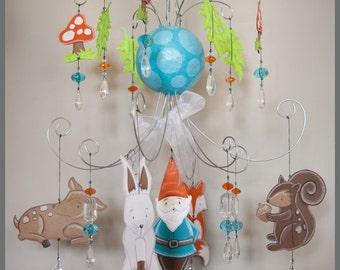 Gnome Woodland Baby Mobile Nursery Mobile Nursery Art Fox Bunny Baby Mobile