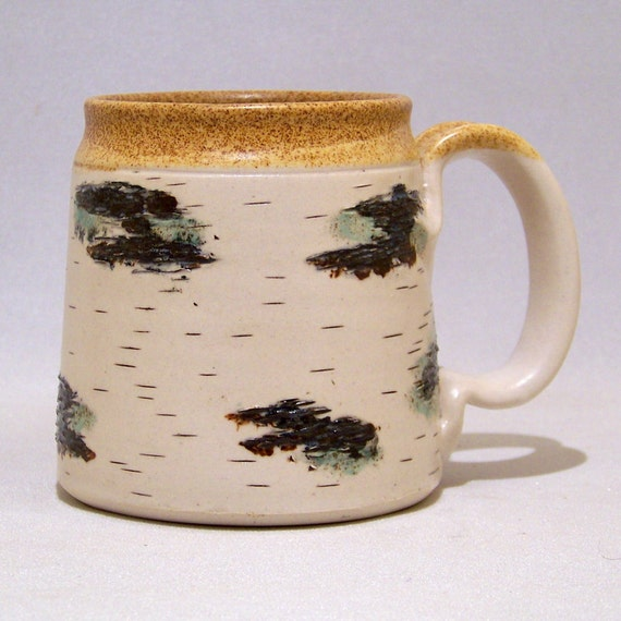 Birch Coffee Mug on White Stoneware Limited Series 214 (microwave safe)12 ounce