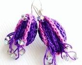 Purple earrings dangling swavosky AB