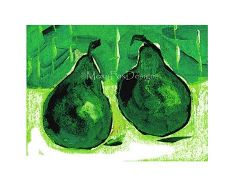 Emerald Pears, Green Pear Art, Digital Artwork Fruit Art Prints Kitchen Décor Pantone Green Art Deco Style Bend Oregon Free US Shipping