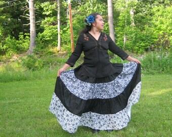 Black n White  5 yd Skirt-Patchwork Tiered Skirt-Folkloric Boho Hippie Skirt