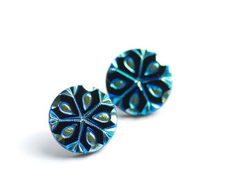 Big Studs, Snowflake Stud Earrings, Black Turquoise and Gold Earrings, Glass Post Earrings, Art Deco Earrings, Winter Jewelry, Elegant Studs