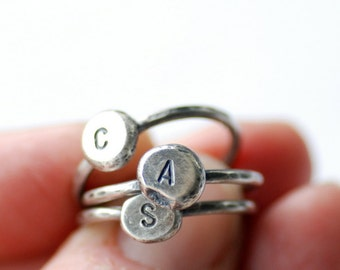 Initial Ring, ONE Ring, Mothers Ring, Personalized Bridesmaid Gift, Eco-Friendly Jewelry, Recycled Silver, Family Ring, Monogram Jewelry