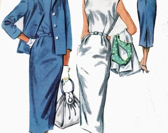 Vintage 1950s Wiggle Dress Bateau Neckline Low Scooped Back McCalls 4109 Vintage 50s Rockabilly Sewing Pattern Size 16 Bust 36