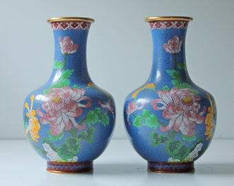 2 Antique Chinese cloisonne enamel vases floral on teal background, pair