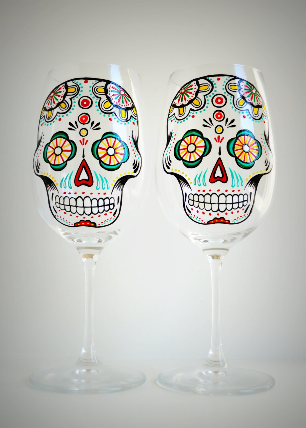 Sugar skull hand painted wine glasses d a de muertos day for Hand painted glassware