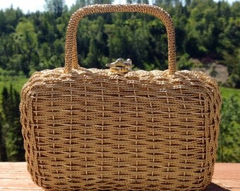 Vintage Gold Basketweave Metal Purse 1960s